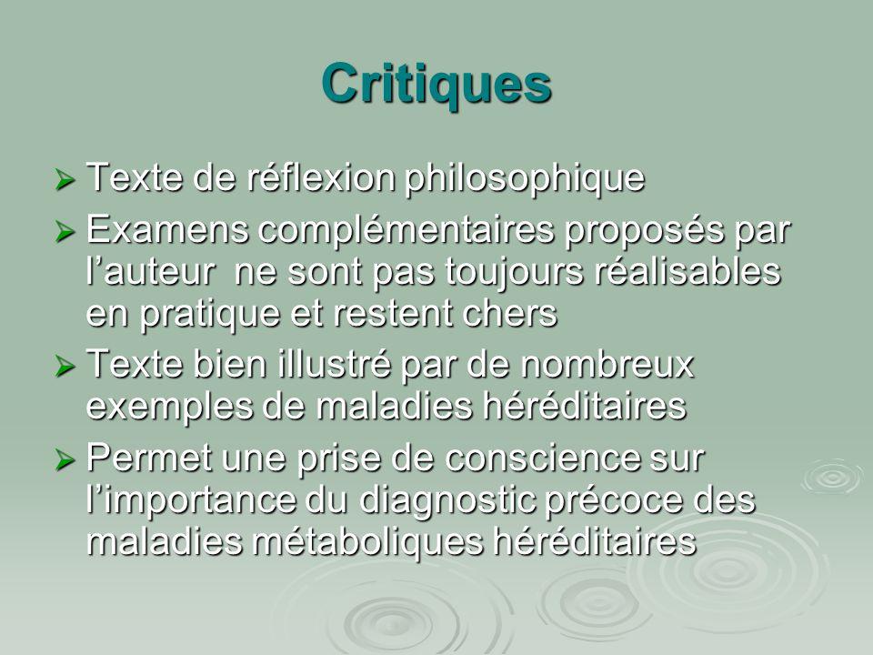 Critiques Texte de réflexion philosophique