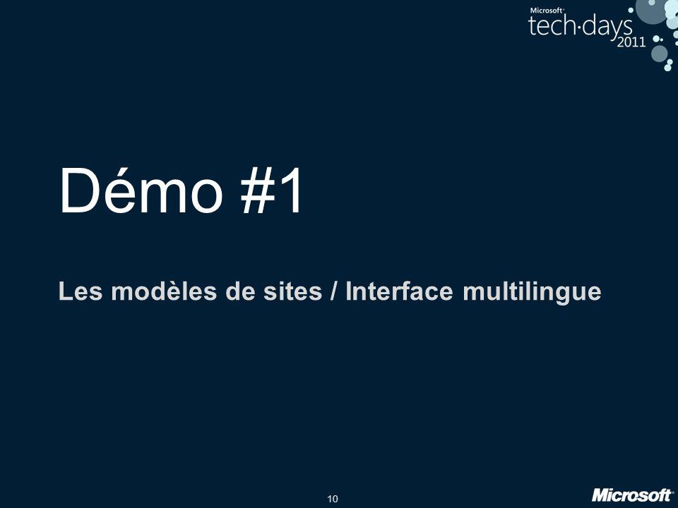 Les modèles de sites / Interface multilingue