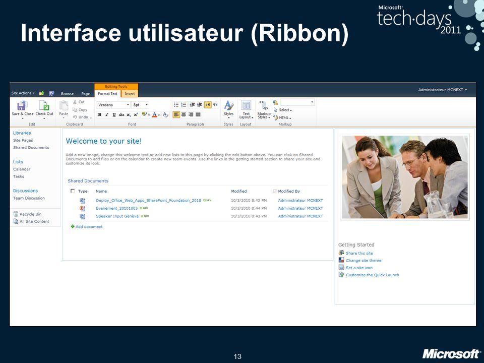 Interface utilisateur (Ribbon)