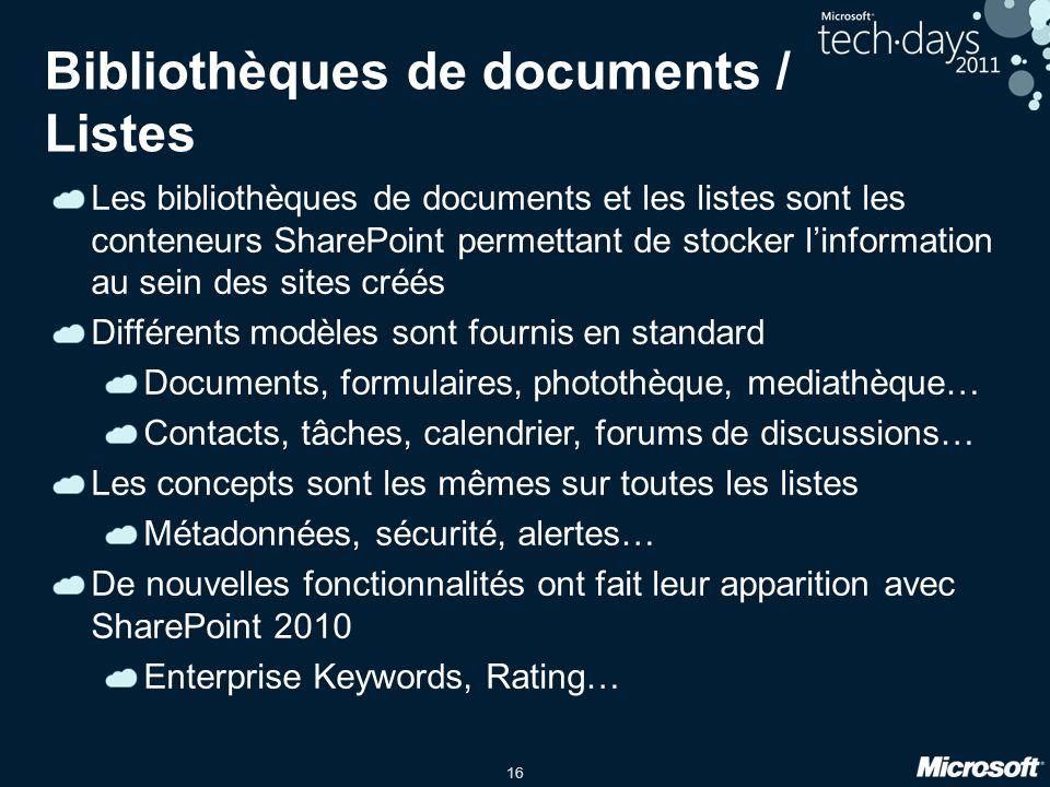 Bibliothèques de documents / Listes