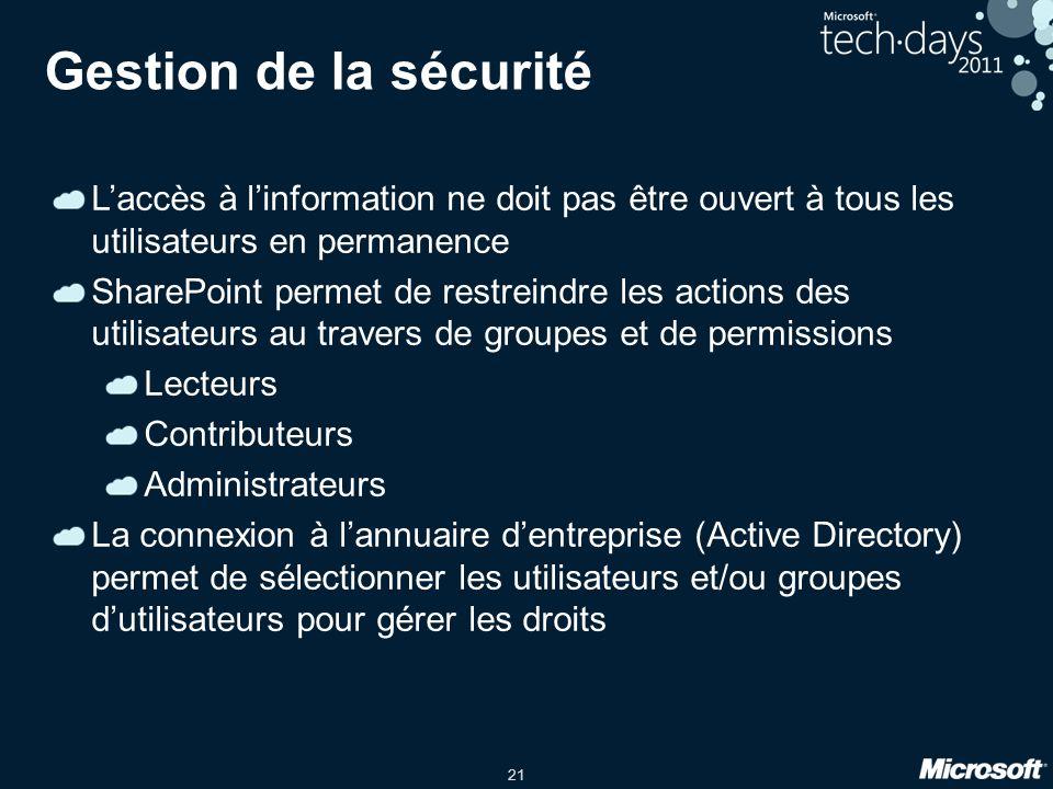 Gestion de la sécurité L'accès à l'information ne doit pas être ouvert à tous les utilisateurs en permanence.