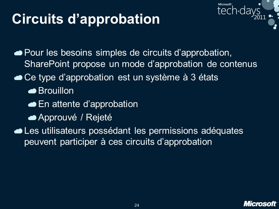 Circuits d'approbation