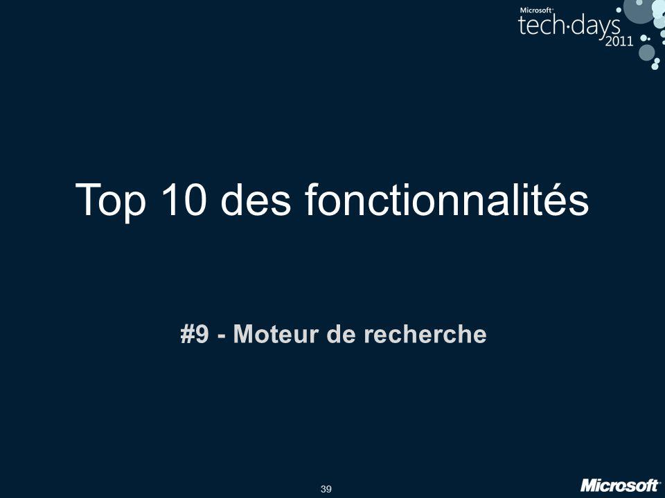 Top 10 des fonctionnalités