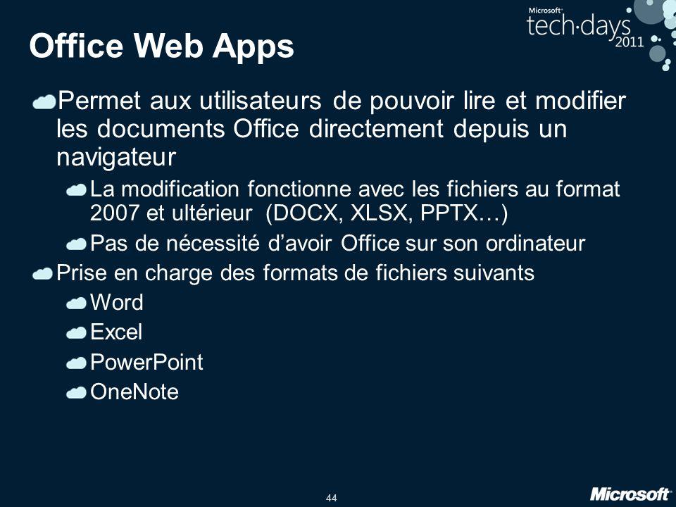 Office Web Apps Permet aux utilisateurs de pouvoir lire et modifier les documents Office directement depuis un navigateur.