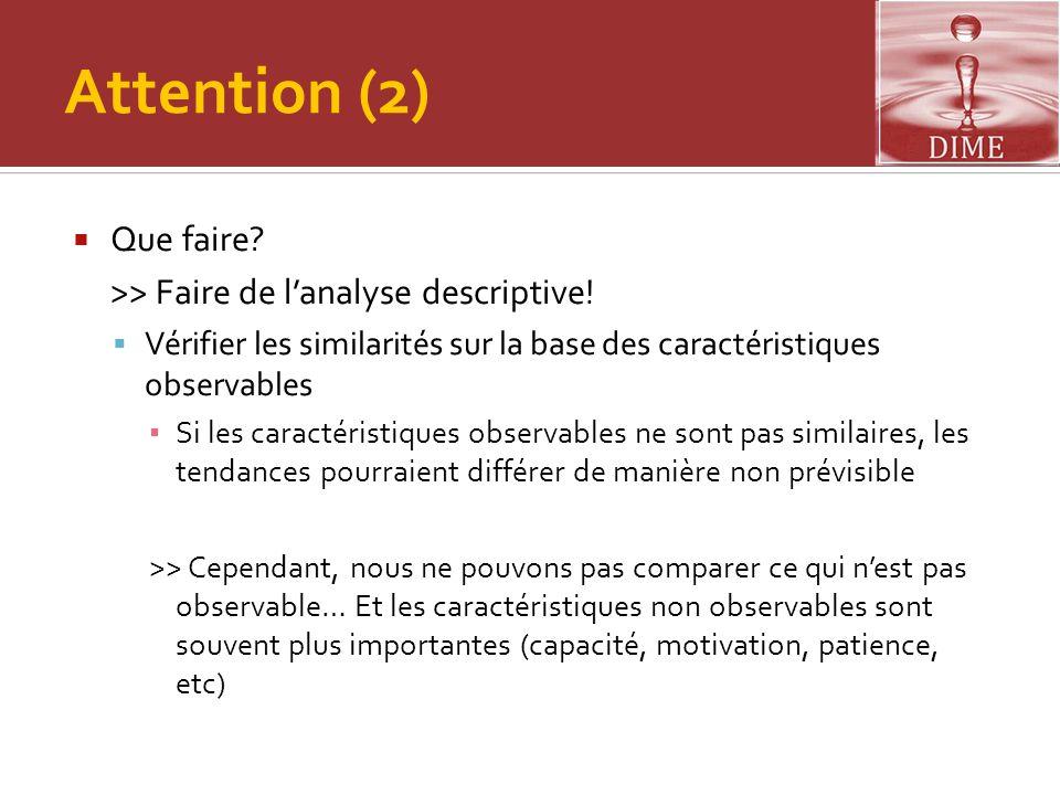 Attention (2) Que faire >> Faire de l'analyse descriptive!