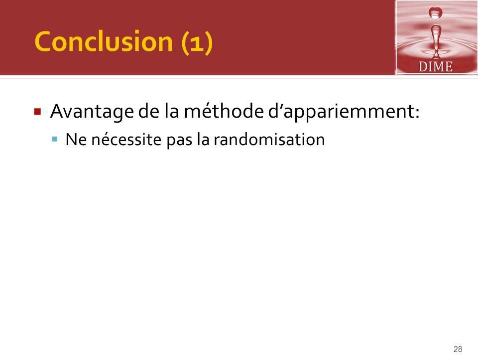 Conclusion (1) Avantage de la méthode d'appariemment: