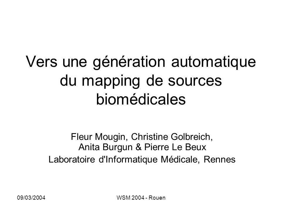 Vers une génération automatique du mapping de sources biomédicales