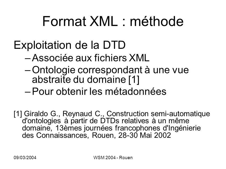 Format XML : méthode Exploitation de la DTD Associée aux fichiers XML