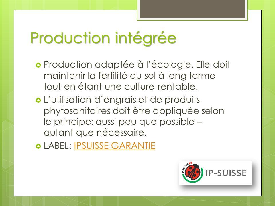 Production intégrée Production adaptée à l'écologie. Elle doit maintenir la fertilité du sol à long terme tout en étant une culture rentable.