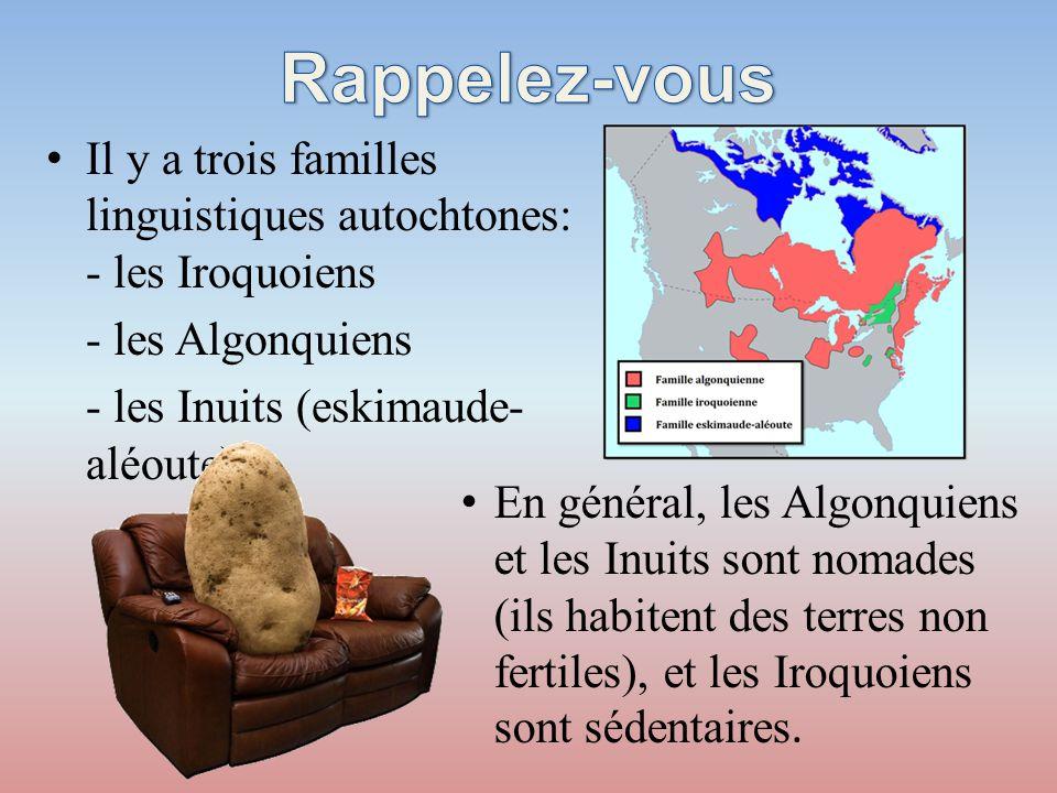 Rappelez-vous Il y a trois familles linguistiques autochtones: - les Iroquoiens. - les Algonquiens.