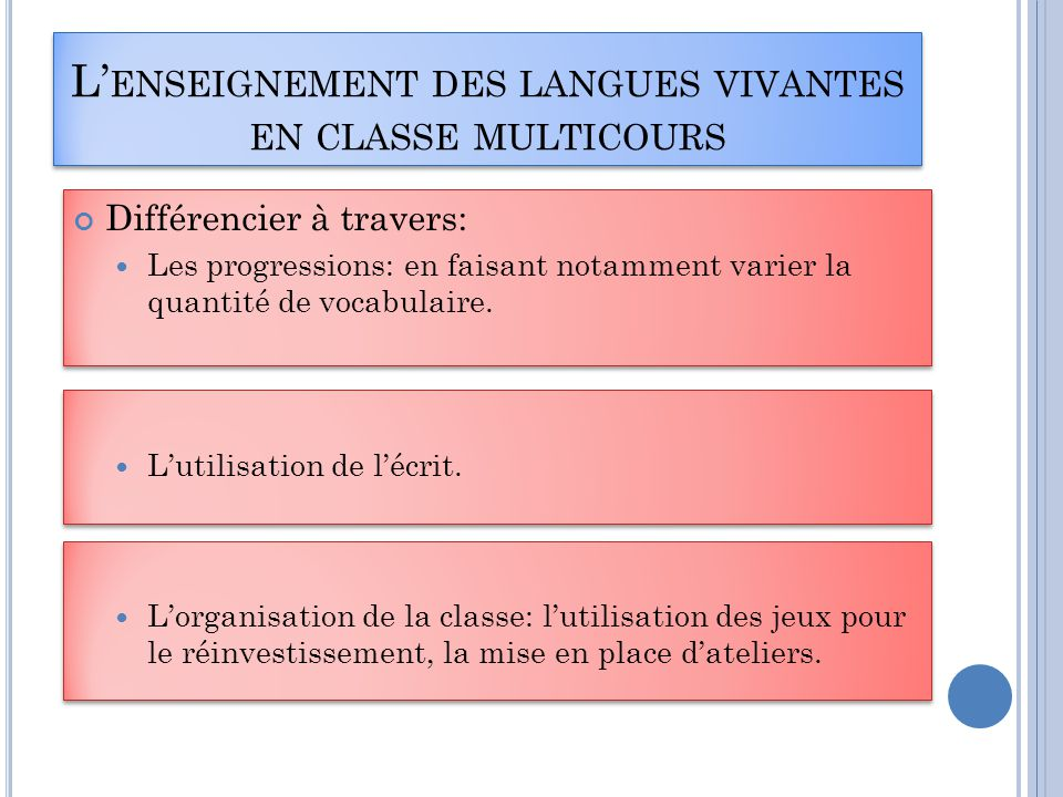 L'enseignement des langues vivantes en classe multicours