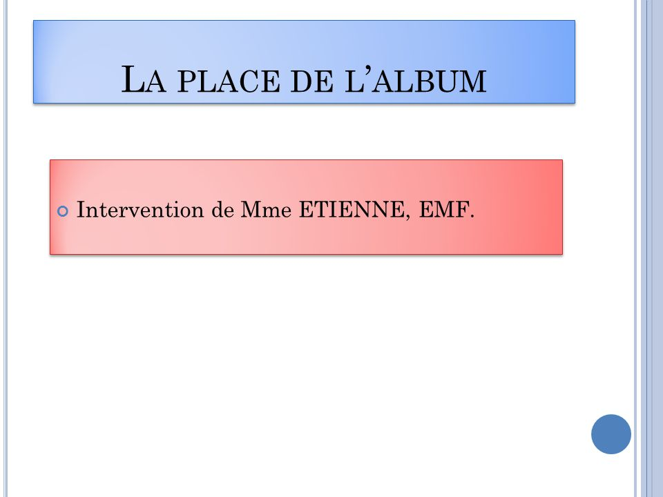 La place de l'album Intervention de Mme ETIENNE, EMF.