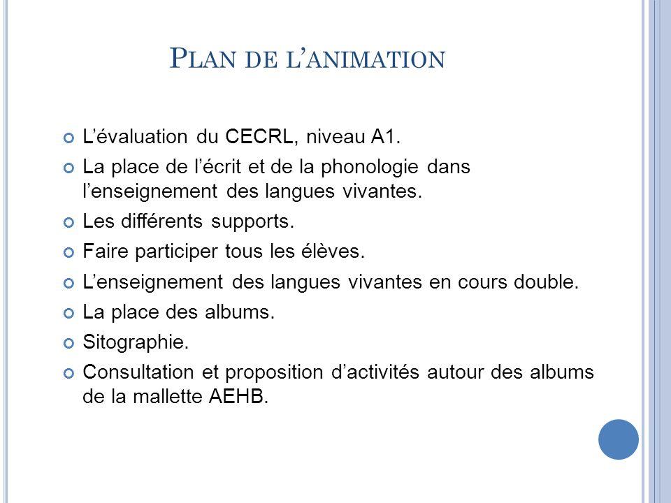 Plan de l'animation L'évaluation du CECRL, niveau A1.