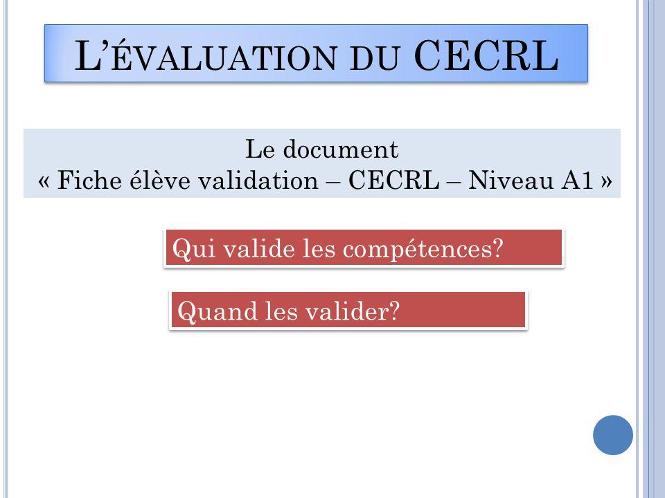 « Fiche élève validation – CECRL – Niveau A1 »