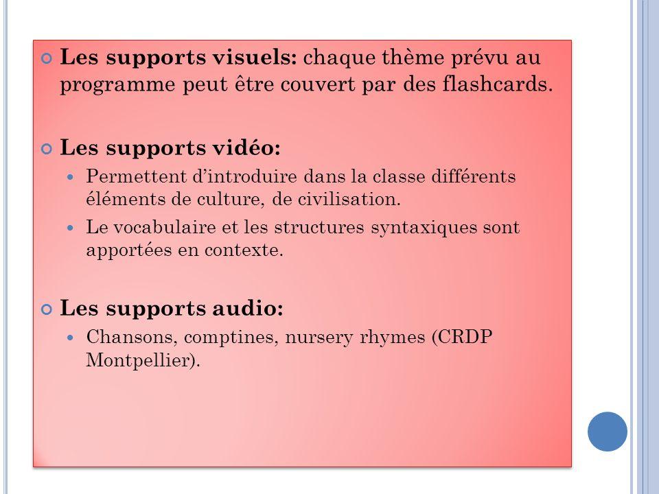 Les supports visuels: chaque thème prévu au programme peut être couvert par des flashcards.