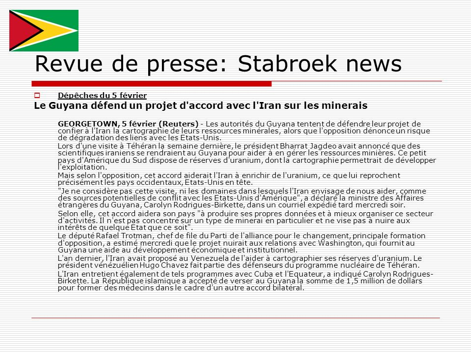 Revue de presse: Stabroek news