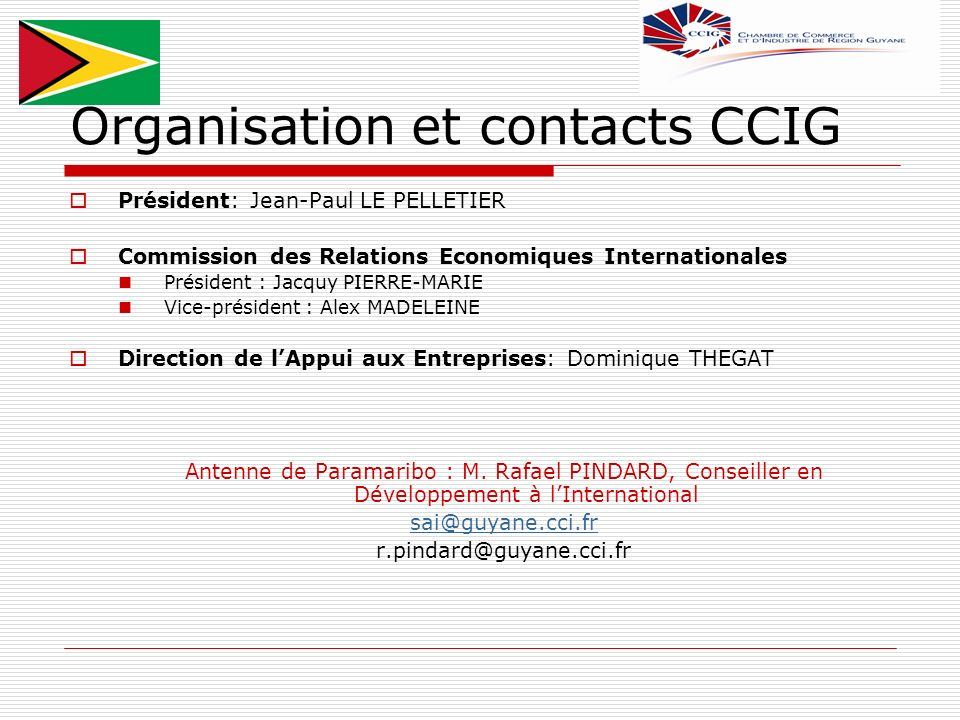 Organisation et contacts CCIG
