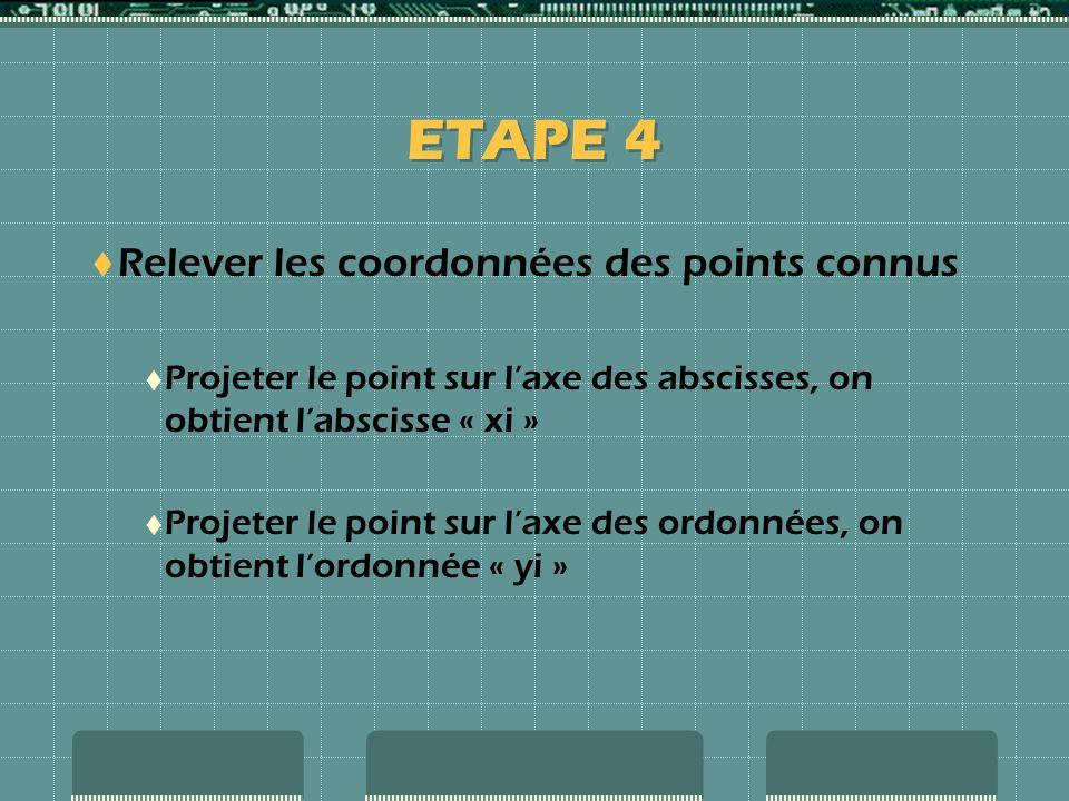ETAPE 4 Relever les coordonnées des points connus