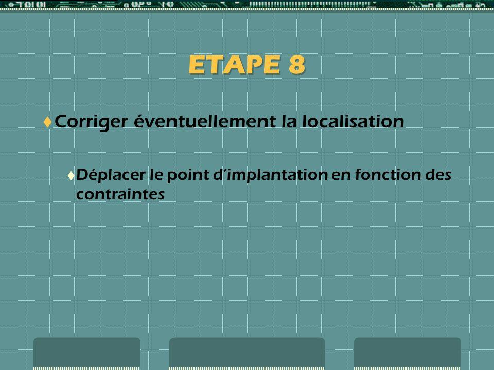 ETAPE 8 Corriger éventuellement la localisation