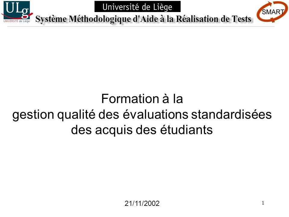 gestion qualité des évaluations standardisées des acquis des étudiants