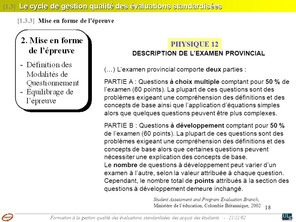 DESCRIPTION DE L'EXAMEN PROVINCIAL