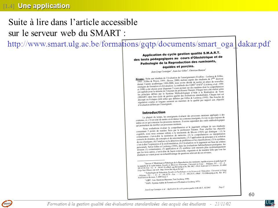 Suite à lire dans l'article accessible sur le serveur web du SMART :