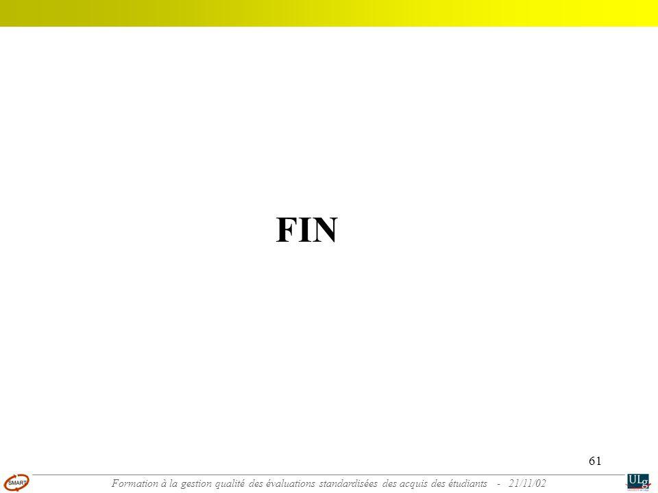 FIN Formation à la gestion qualité des évaluations standardisées des acquis des étudiants - 21/11/02.
