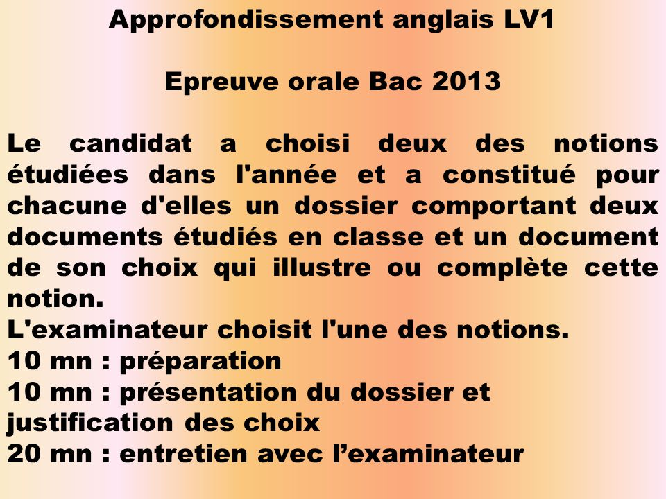 Approfondissement anglais LV1