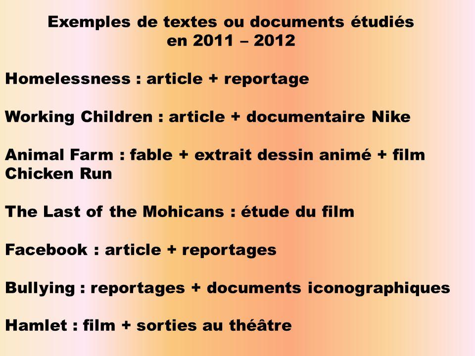 Exemples de textes ou documents étudiés