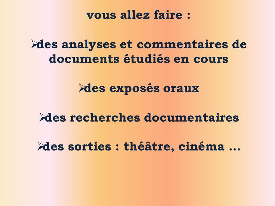 des analyses et commentaires de documents étudiés en cours