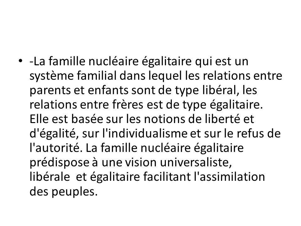 -La famille nucléaire égalitaire qui est un système familial dans lequel les relations entre parents et enfants sont de type libéral, les relations entre frères est de type égalitaire.