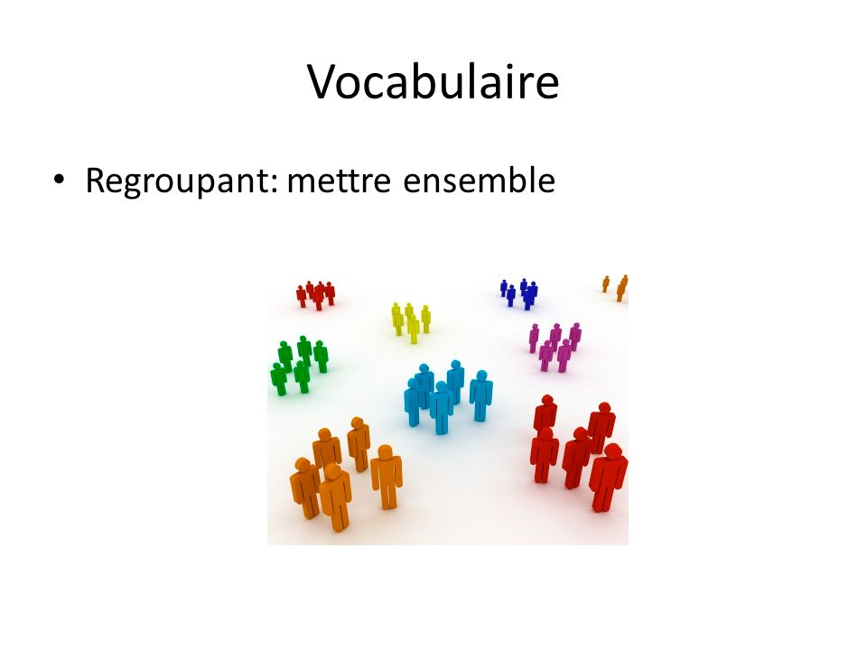 Vocabulaire Regroupant: mettre ensemble