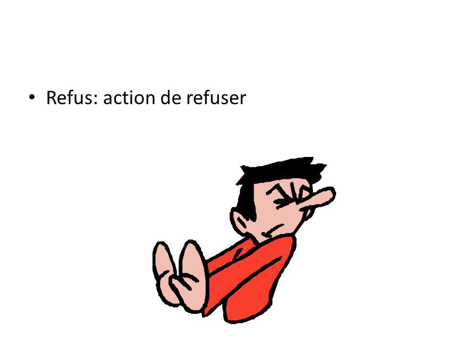 Refus: action de refuser