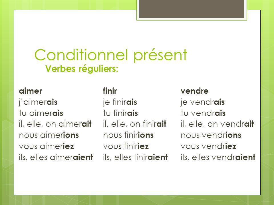 Conditionnel présent Verbes réguliers: