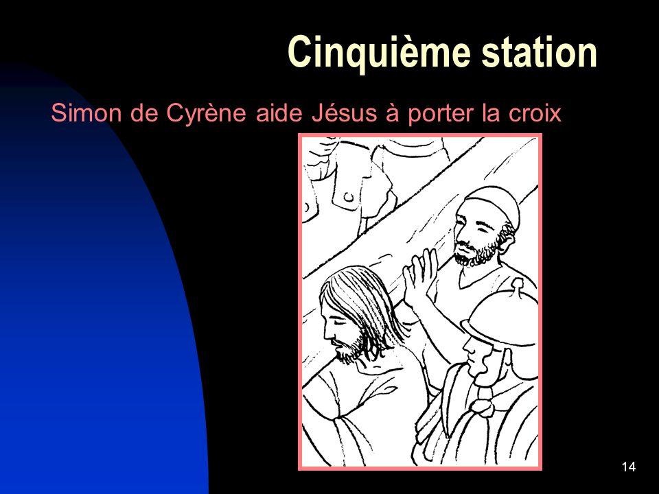 Cinquième station Simon de Cyrène aide Jésus à porter la croix