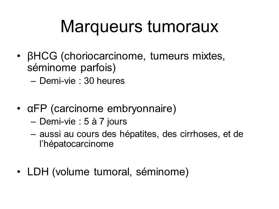 Marqueurs tumoraux βHCG (choriocarcinome, tumeurs mixtes, séminome parfois) Demi-vie : 30 heures. αFP (carcinome embryonnaire)