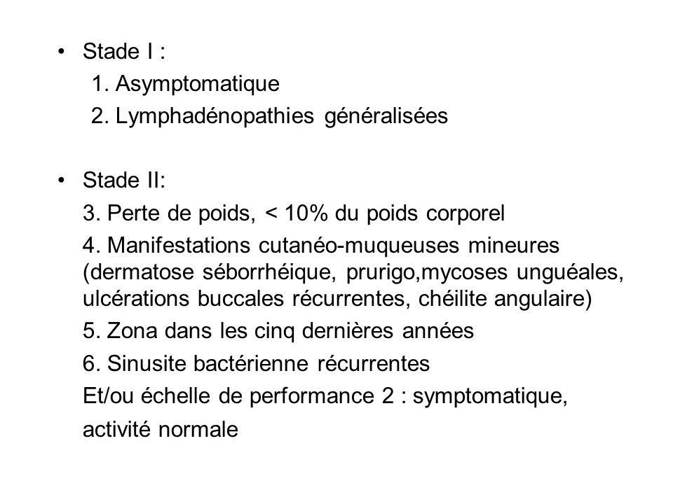 Stade I :1. Asymptomatique. 2. Lymphadénopathies généralisées. Stade II: 3. Perte de poids, < 10% du poids corporel.
