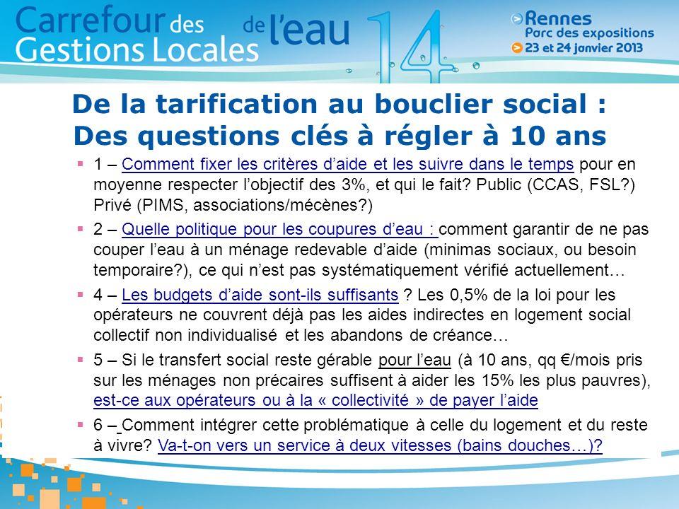 De la tarification au bouclier social : Des questions clés à régler à 10 ans