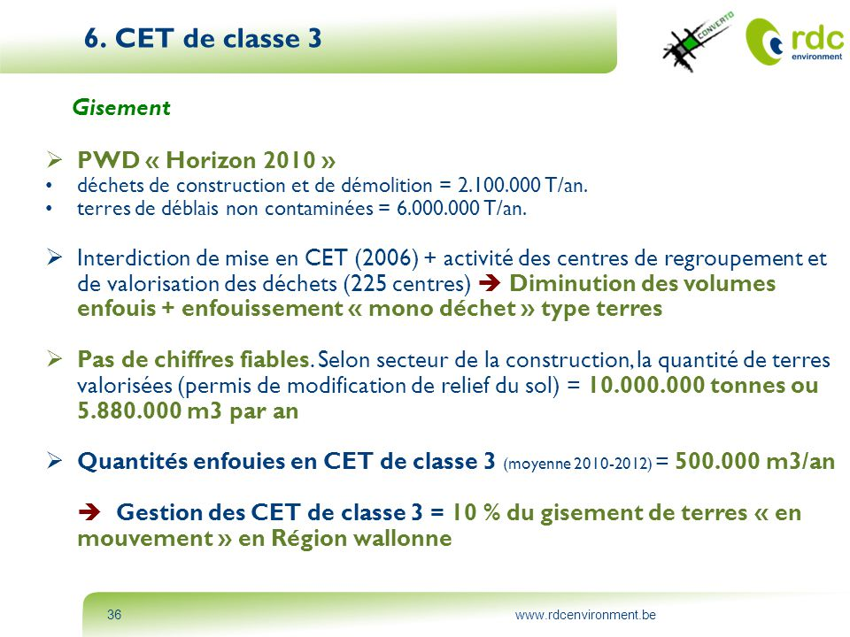 6. CET de classe 3 Gisement PWD « Horizon 2010 »