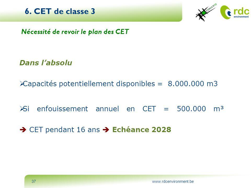 6. CET de classe 3 Nécessité de revoir le plan des CET Dans l'absolu