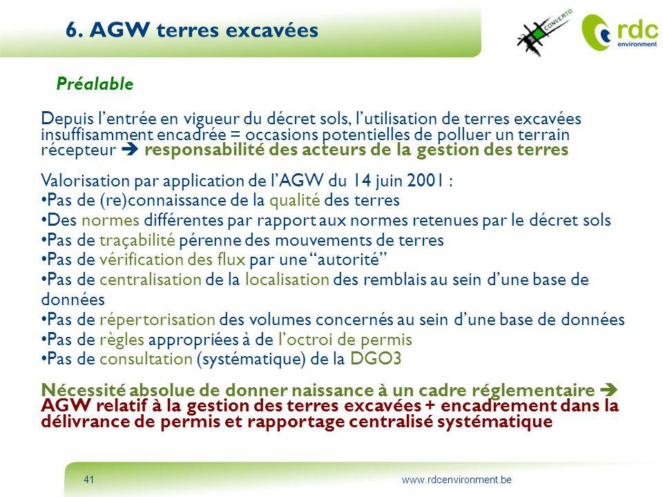 6. AGW terres excavées Préalable
