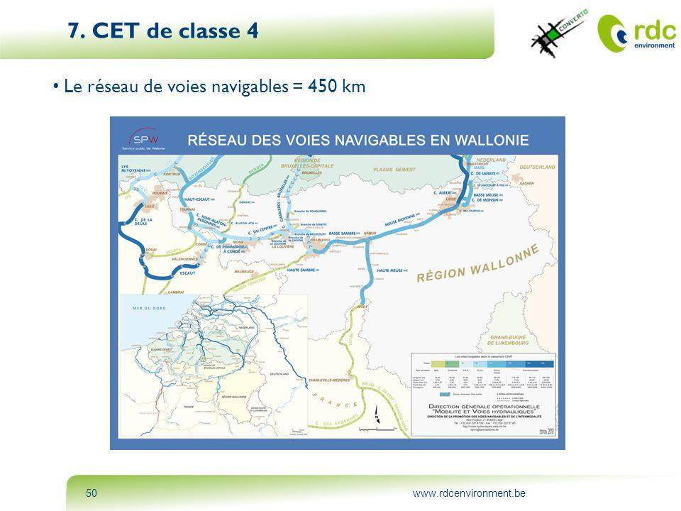 7. CET de classe 4 Le réseau de voies navigables = 450 km