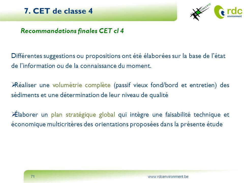 7. CET de classe 4 Recommandations finales CET cl 4