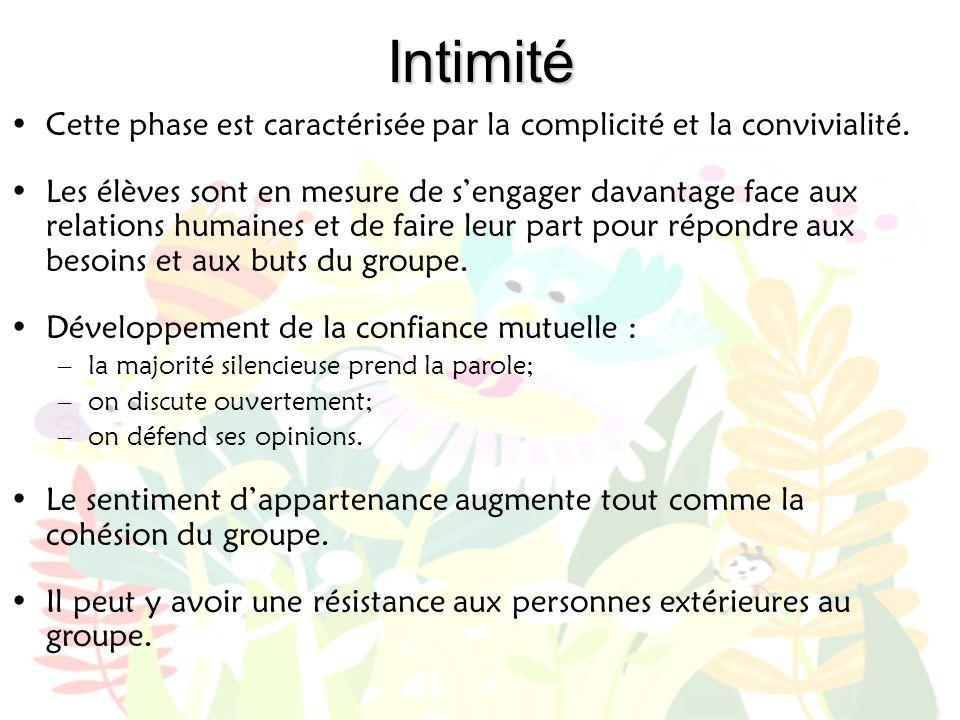 Intimité Cette phase est caractérisée par la complicité et la convivialité.