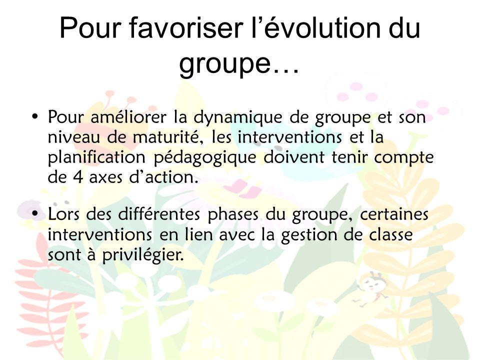 Pour favoriser l'évolution du groupe…