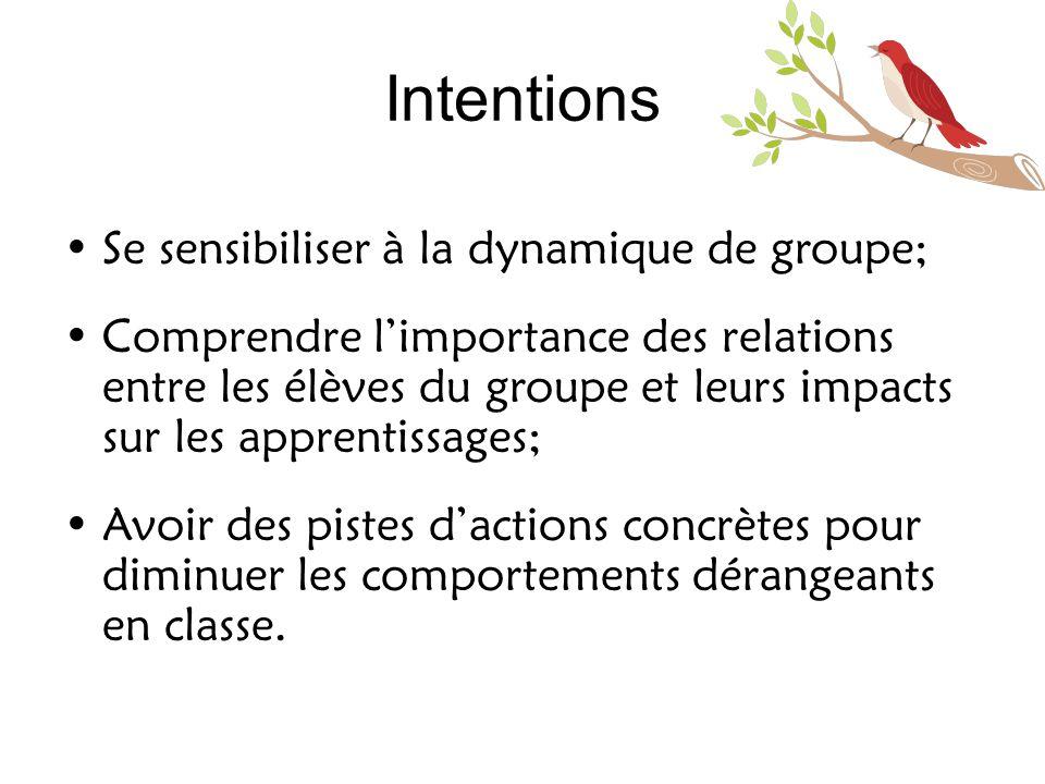 Intentions Se sensibiliser à la dynamique de groupe;