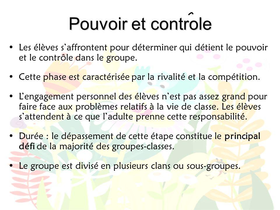 Pouvoir et controle Les élèves s'affrontent pour déterminer qui détient le pouvoir et le contrôle dans le groupe.