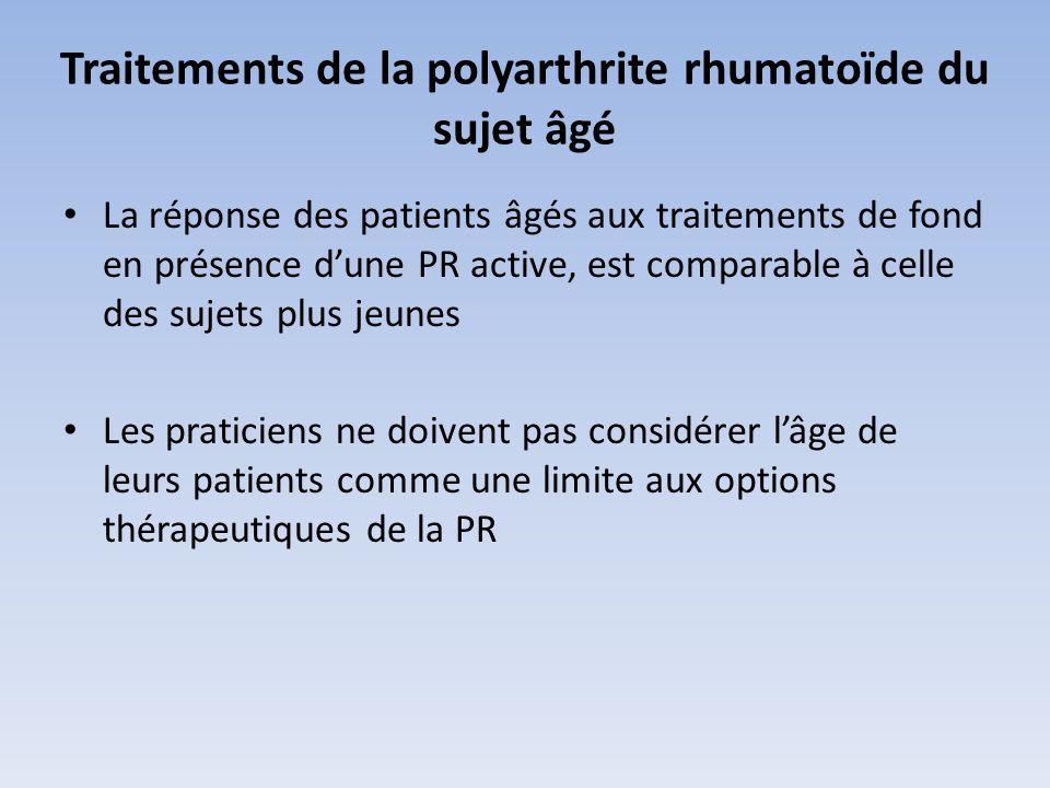 Traitements de la polyarthrite rhumatoïde du sujet âgé