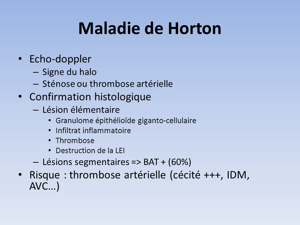 Maladie de Horton Echo-doppler Confirmation histologique