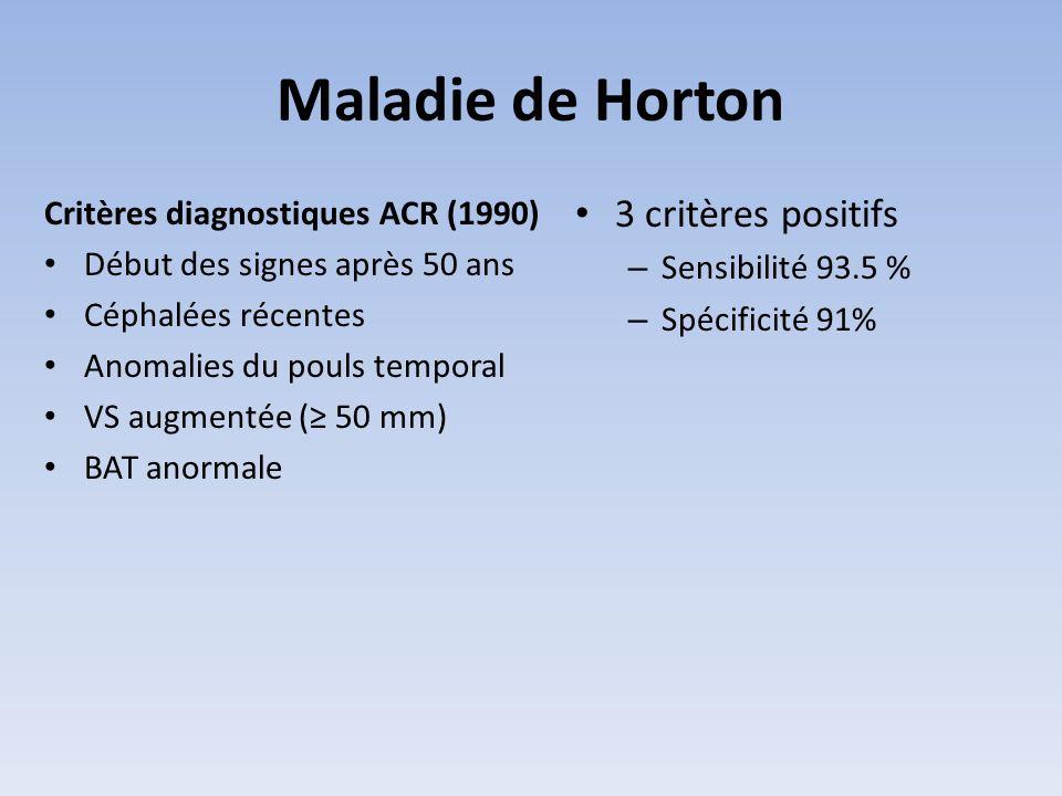 Maladie de Horton 3 critères positifs